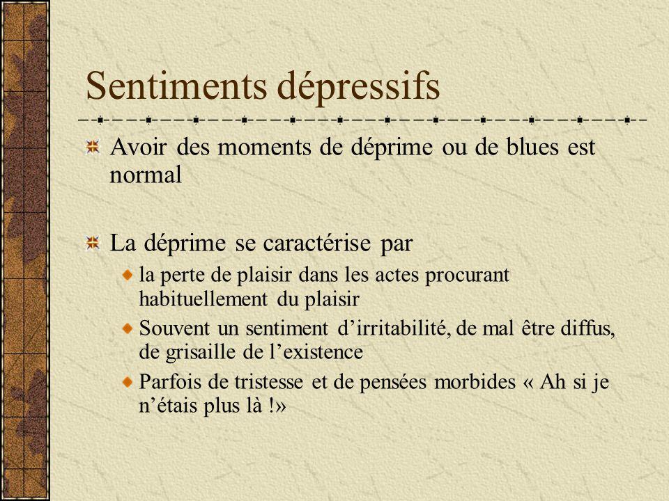 Sentiments dépressifs Avoir des moments de déprime ou de blues est normal La déprime se caractérise par la perte de plaisir dans les actes procurant h