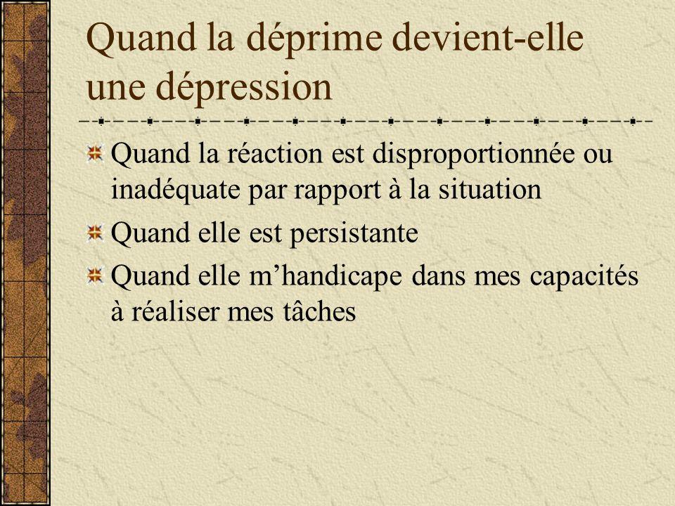 Quand la déprime devient-elle une dépression Quand la réaction est disproportionnée ou inadéquate par rapport à la situation Quand elle est persistant