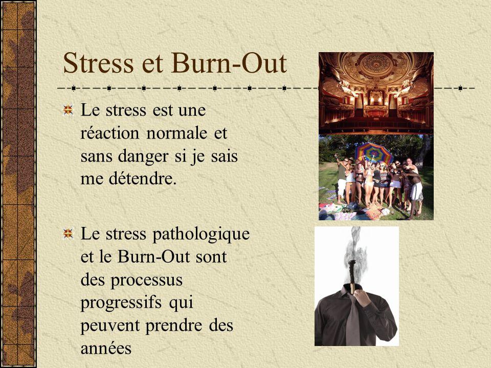 Stress et Burn-Out Le stress est une réaction normale et sans danger si je sais me détendre. Le stress pathologique et le Burn-Out sont des processus