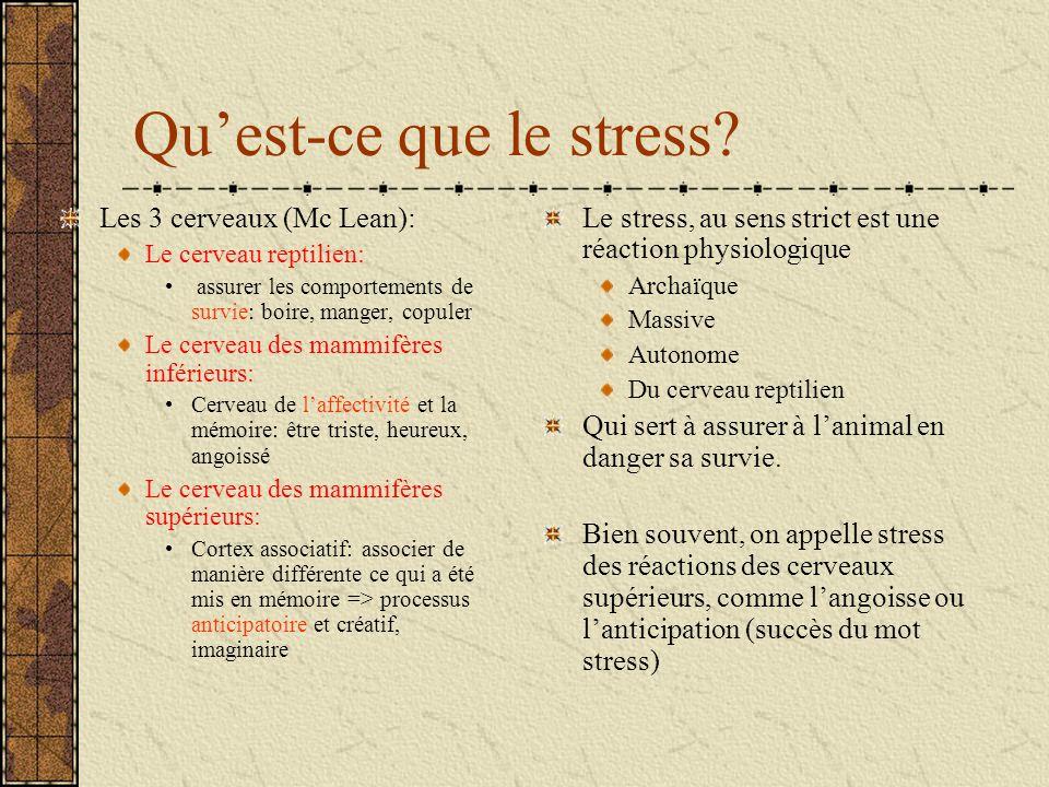 Quest-ce que le stress? Le stress, au sens strict est une réaction physiologique Archaïque Massive Autonome Du cerveau reptilien Qui sert à assurer à