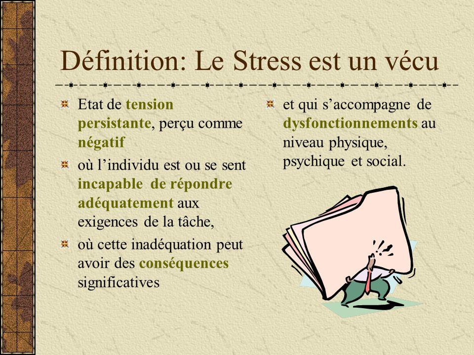 Définition: Le Stress est un vécu et qui saccompagne de dysfonctionnements au niveau physique, psychique et social. Etat de tension persistante, perçu