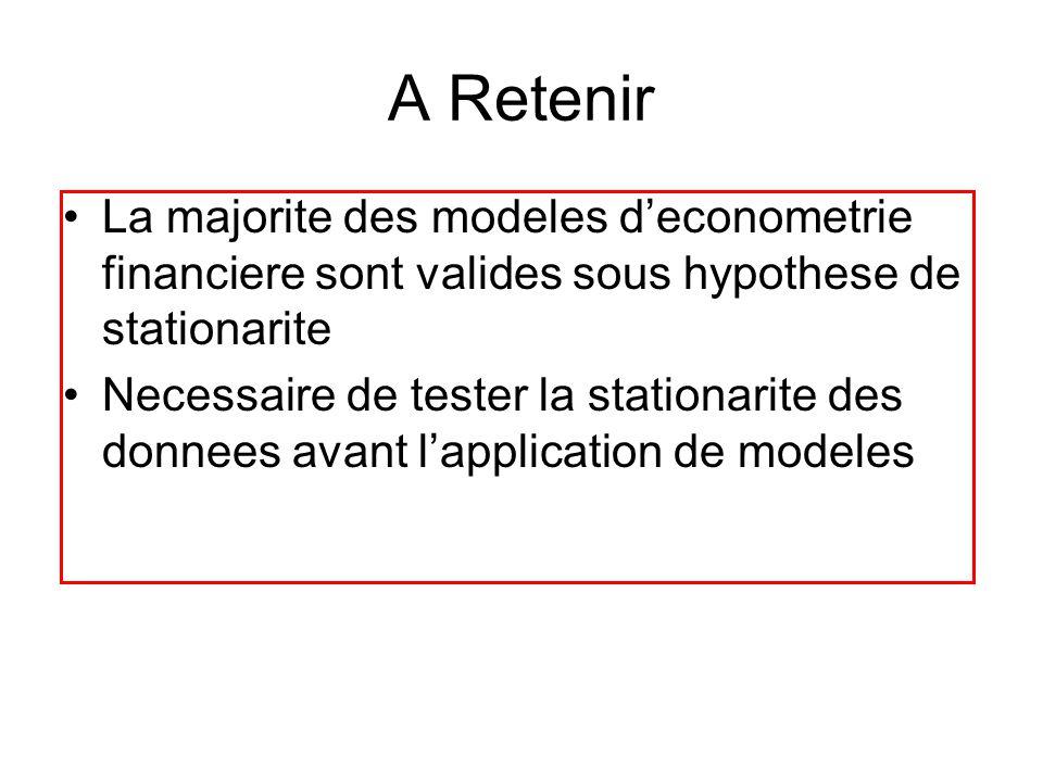A Retenir La majorite des modeles deconometrie financiere sont valides sous hypothese de stationarite Necessaire de tester la stationarite des donnees