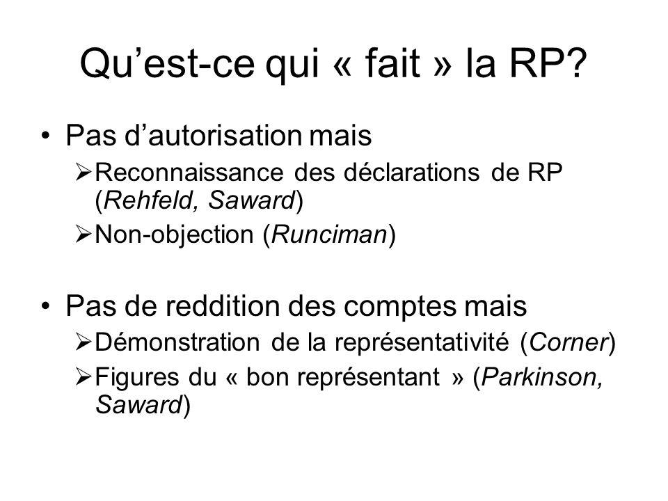 Quest-ce qui « fait » la RP? Pas dautorisation mais Reconnaissance des déclarations de RP (Rehfeld, Saward) Non-objection (Runciman) Pas de reddition