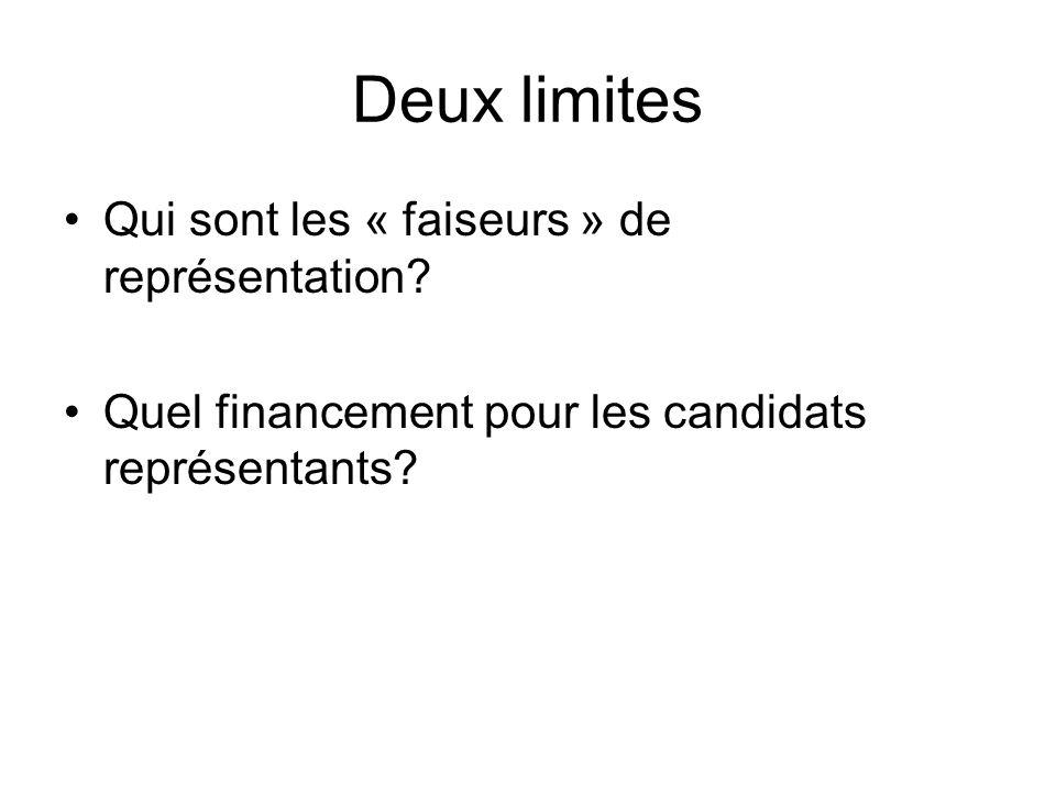 Deux limites Qui sont les « faiseurs » de représentation? Quel financement pour les candidats représentants?
