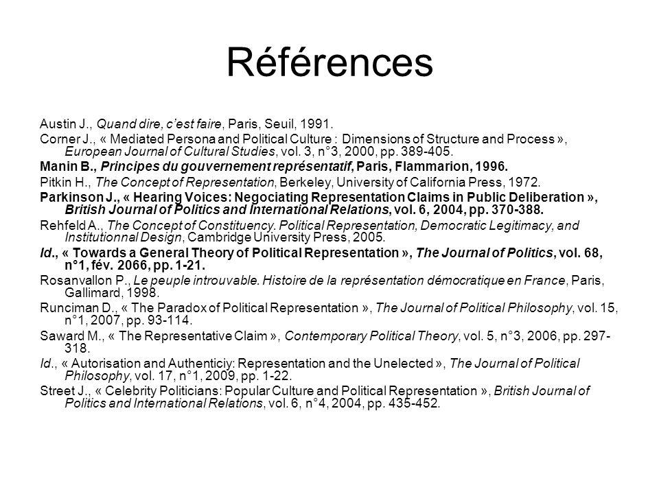 Références Austin J., Quand dire, cest faire, Paris, Seuil, 1991. Corner J., « Mediated Persona and Political Culture : Dimensions of Structure and Pr