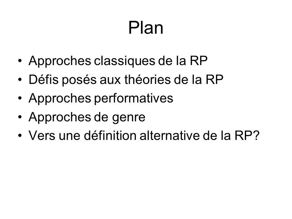 Plan Approches classiques de la RP Défis posés aux théories de la RP Approches performatives Approches de genre Vers une définition alternative de la