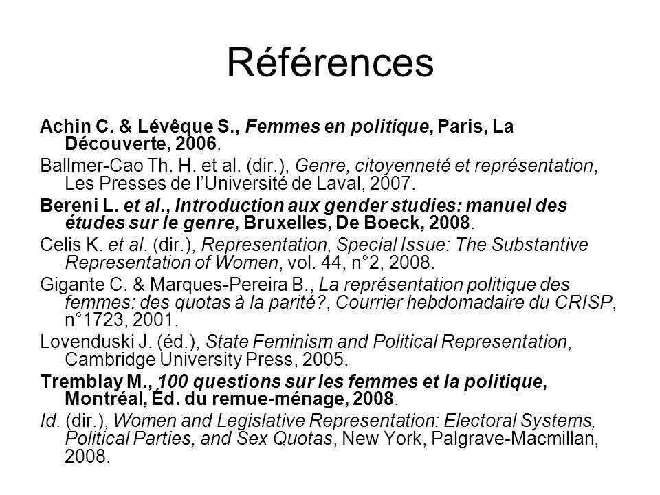Références Achin C. & Lévêque S., Femmes en politique, Paris, La Découverte, 2006. Ballmer-Cao Th. H. et al. (dir.), Genre, citoyenneté et représentat