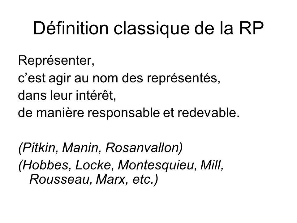 Définition classique de la RP Représenter, cest agir au nom des représentés, dans leur intérêt, de manière responsable et redevable. (Pitkin, Manin, R