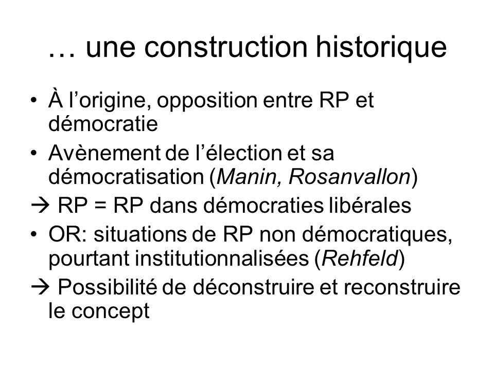 … une construction historique À lorigine, opposition entre RP et démocratie Avènement de lélection et sa démocratisation (Manin, Rosanvallon) RP = RP
