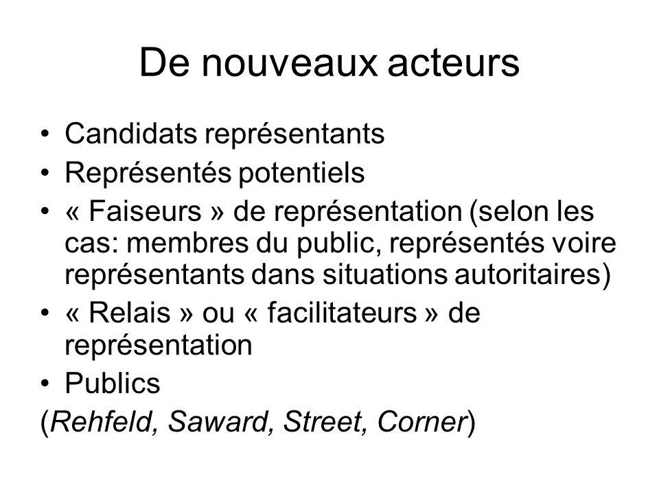 De nouveaux acteurs Candidats représentants Représentés potentiels « Faiseurs » de représentation (selon les cas: membres du public, représentés voire