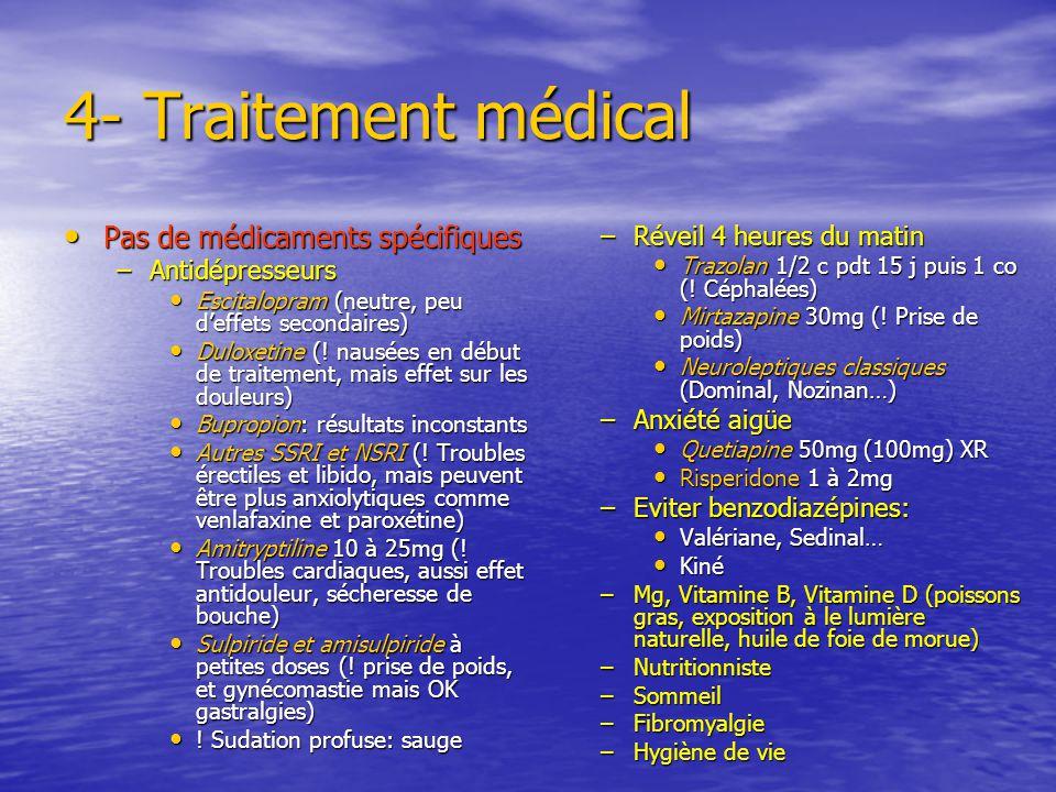 Traitement: 3- Prendre soin de soi Somatique Somatique – Sommeil – Alimentation – Alcool, tabac, café – Se soigner Psychologique Psychologique – Respe
