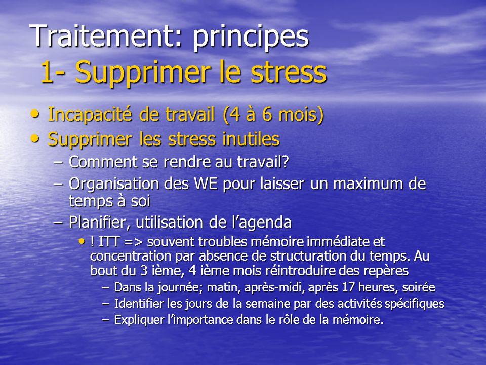 Traitement: principes 1- Supprimer le stress Supprimer la source Supprimer la source Supprimer le stress inutile Supprimer le stress inutile Agir sur