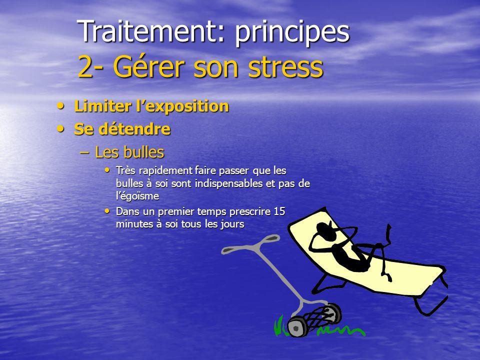 Traitement: principes 1- Supprimer le stress Incapacité de travail (4 à 6 mois) Incapacité de travail (4 à 6 mois) Supprimer les stress inutiles Suppr