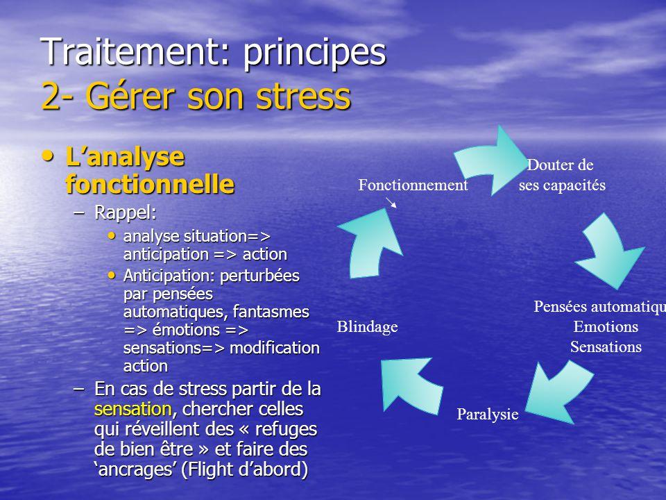 Traitement: principes 2- Gérer son stress Mettre des limites Mettre des limites –Le respect des limites est le fondement de laltérité dans la société