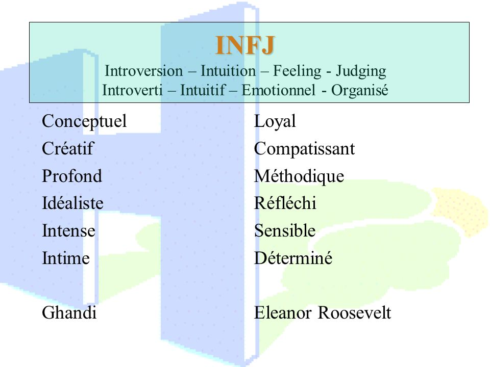 INFJ INFJ Introversion – Intuition – Feeling - Judging Introverti – Intuitif – Emotionnel - Organisé Conceptuel Créatif Profond Idéaliste Intense Inti