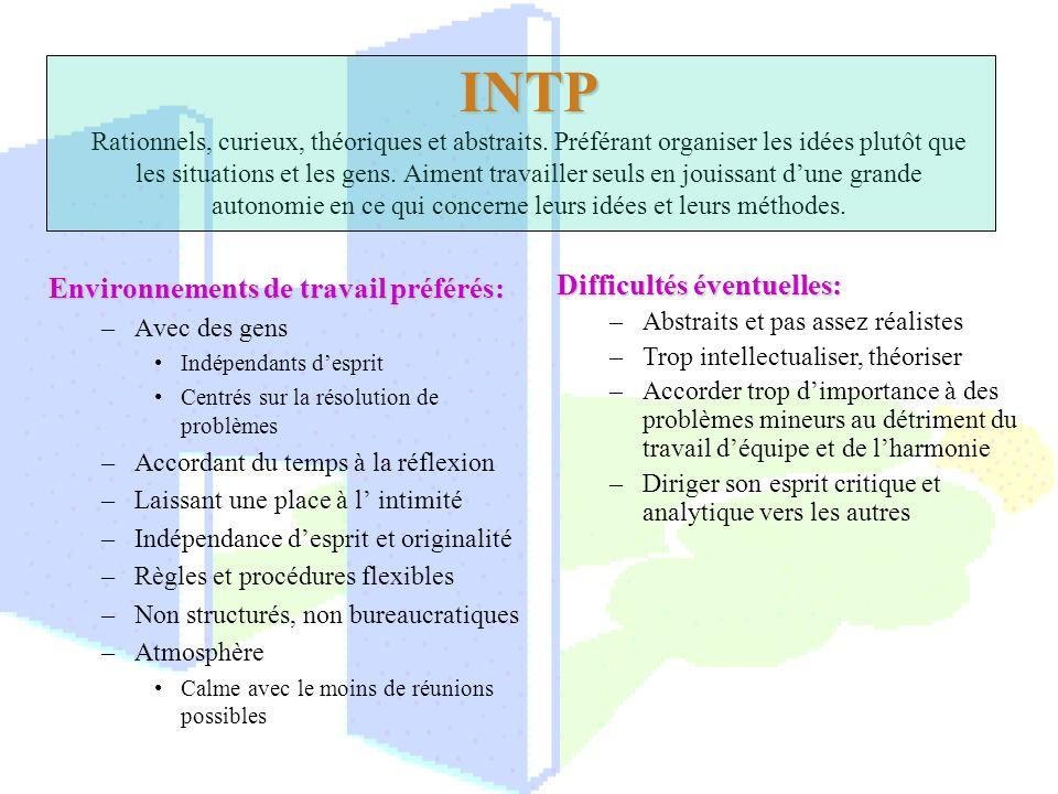INTP INTP Rationnels, curieux, théoriques et abstraits. Préférant organiser les idées plutôt que les situations et les gens. Aiment travailler seuls e
