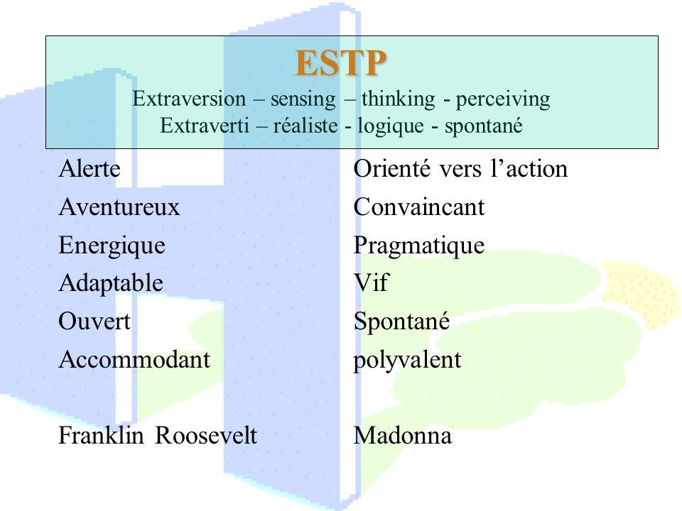 ESTP ESTP Extraversion – sensing – thinking - perceiving Extraverti – réaliste - logique - spontané Alerte Aventureux Energique Adaptable Ouvert Accom