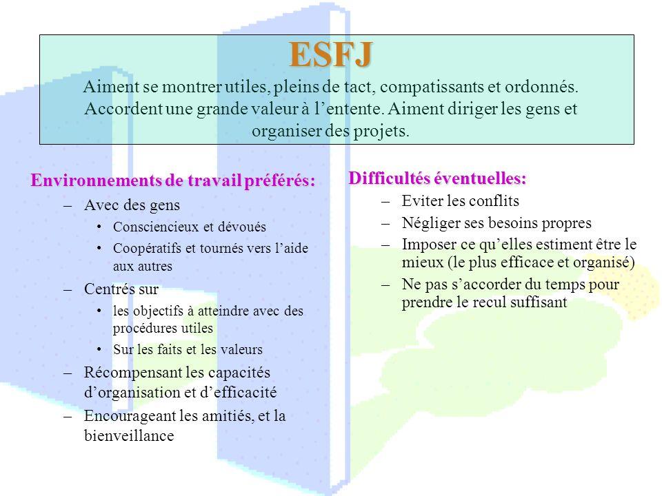 ESFJ ESFJ Aiment se montrer utiles, pleins de tact, compatissants et ordonnés. Accordent une grande valeur à lentente. Aiment diriger les gens et orga