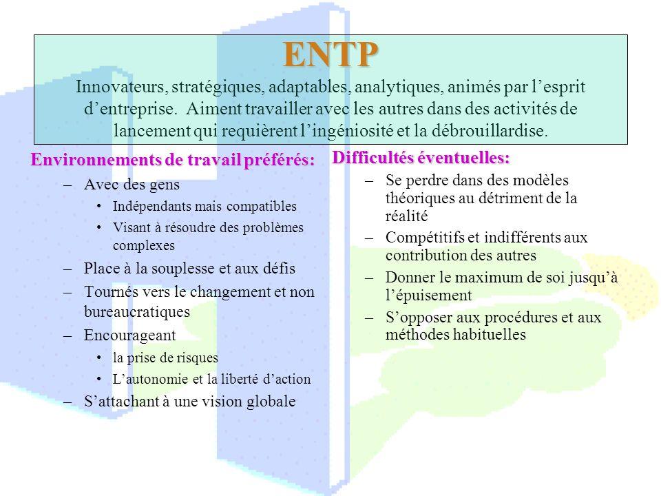 ENTP ENTP Innovateurs, stratégiques, adaptables, analytiques, animés par lesprit dentreprise. Aiment travailler avec les autres dans des activités de