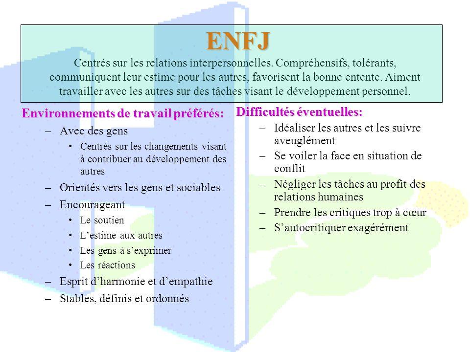 ENFJ ENFJ Centrés sur les relations interpersonnelles. Compréhensifs, tolérants, communiquent leur estime pour les autres, favorisent la bonne entente