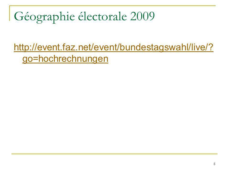 8 Géographie électorale 2009 http://event.faz.net/event/bundestagswahl/live/? go=hochrechnungen