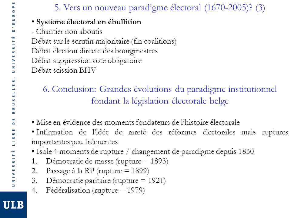 5. Vers un nouveau paradigme électoral (1670-2005)? (3) Système électoral en ébullition - Chantier non aboutis Débat sur le scrutin majoritaire (fin c