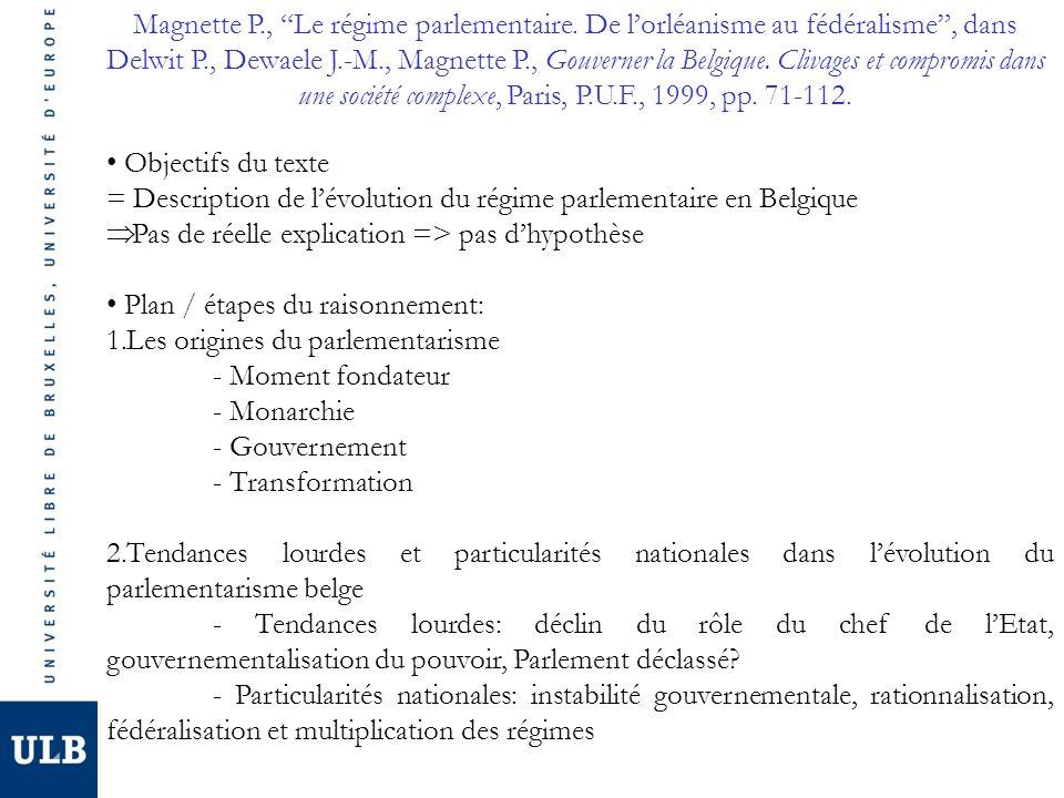 Magnette P., Le régime parlementaire. De lorléanisme au fédéralisme, dans Delwit P., Dewaele J.-M., Magnette P., Gouverner la Belgique. Clivages et co