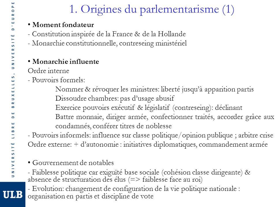 1. Origines du parlementarisme (1) Moment fondateur - Constitution inspirée de la France & de la Hollande - Monarchie constitutionnelle, contreseing m