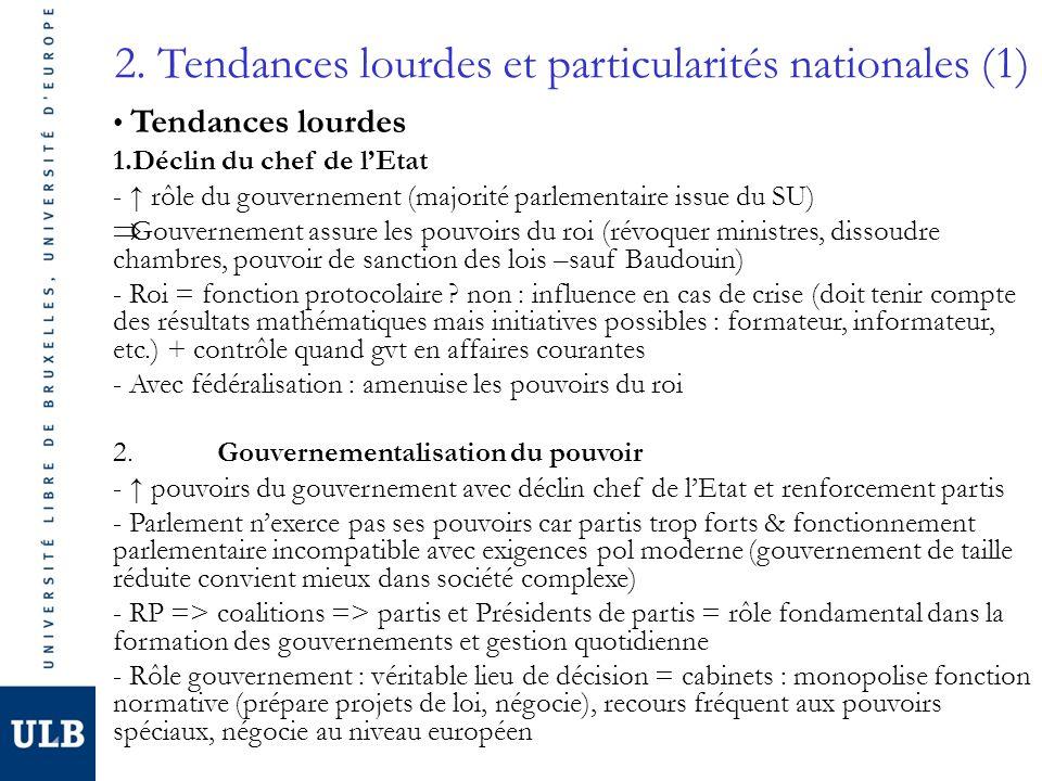 2. Tendances lourdes et particularités nationales (1) Tendances lourdes 1.Déclin du chef de lEtat - rôle du gouvernement (majorité parlementaire issue