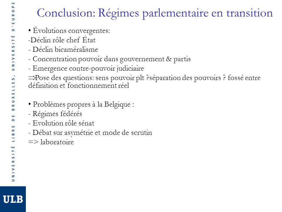 Conclusion: Régimes parlementaire en transition Évolutions convergentes: -Déclin rôle chef État - Déclin bicaméralisme - Concentration pouvoir dans go