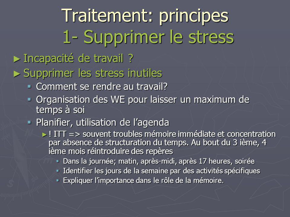 Traitement: principes 1- Supprimer le stress Supprimer la source Supprimer la source Supprimer le stress inutile Supprimer le stress inutile Agir sur le processus Agir sur le processus Alerte Break-down Ortho Ortho+Para Alerte Ortho Détente Para Stress