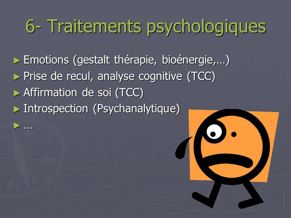 5- Traitement médical Pas de médicaments spécifiques Pas de médicaments spécifiques Antidépresseurs Antidépresseurs Escitalopram (neutre, peu deffets secondaires) Escitalopram (neutre, peu deffets secondaires) Duloxetine (.