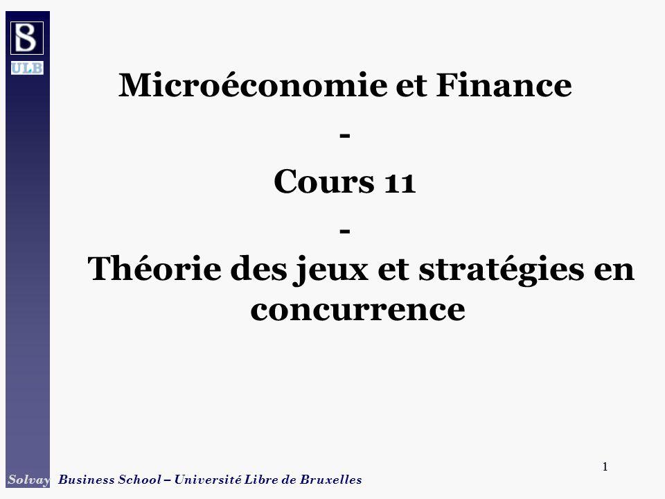 2 Solvay Business School – Université Libre de Bruxelles 2 Points à aborder Jeux coopératifs / non coopératifs Stratégies dominantes Jeux répétés Jeux séquentiels Exemples dapplications