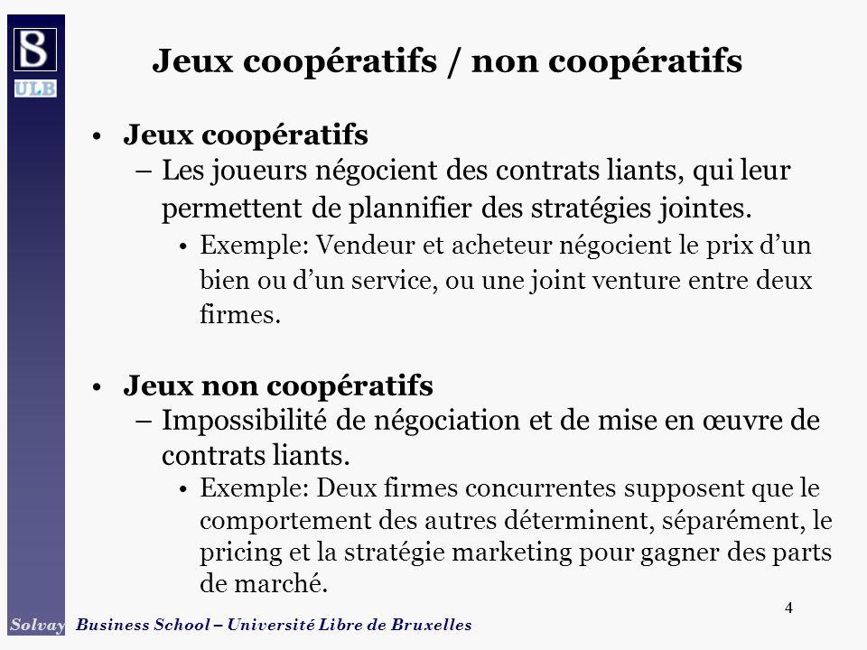 4 Solvay Business School – Université Libre de Bruxelles 4 Jeux coopératifs / non coopératifs Jeux coopératifs –Les joueurs négocient des contrats lia