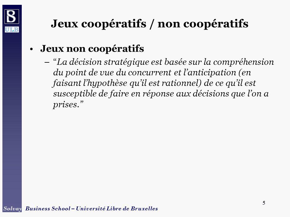 5 Solvay Business School – Université Libre de Bruxelles 5 Jeux coopératifs / non coopératifs Jeux non coopératifs –La décision stratégique est basée