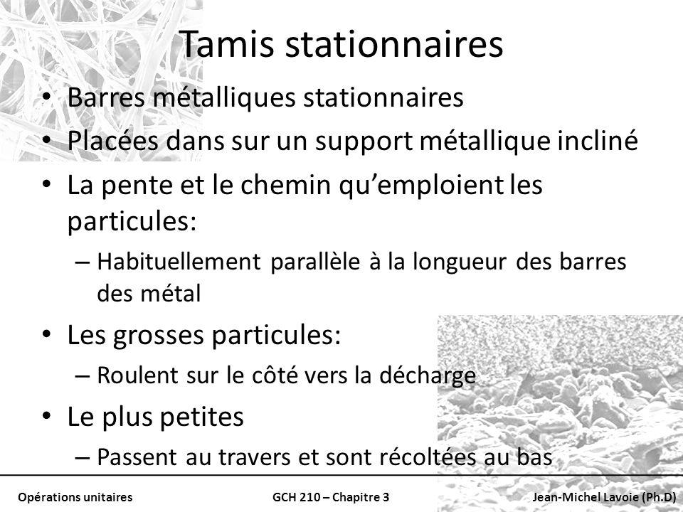 Opérations unitairesGCH 210 – Chapitre 3Jean-Michel Lavoie (Ph.D) Tamis stationnaires Barres métalliques stationnaires Placées dans sur un support mét