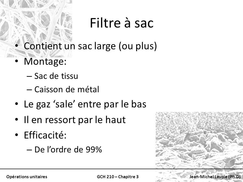 Opérations unitairesGCH 210 – Chapitre 3Jean-Michel Lavoie (Ph.D) Filtre à sac Contient un sac large (ou plus) Montage: – Sac de tissu – Caisson de mé