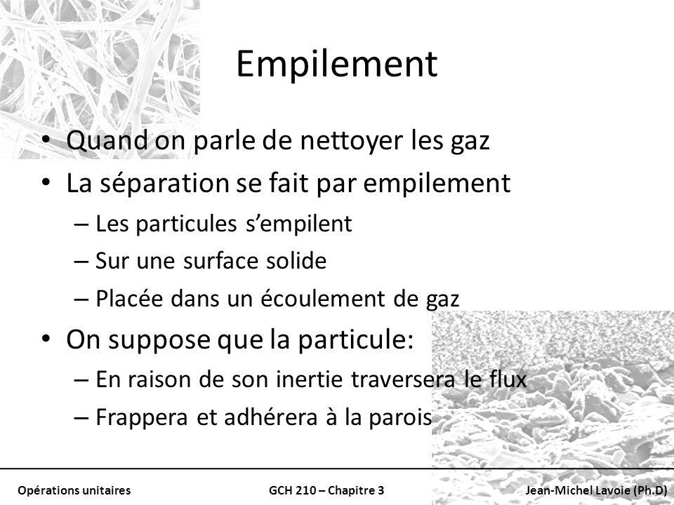 Opérations unitairesGCH 210 – Chapitre 3Jean-Michel Lavoie (Ph.D) Empilement Quand on parle de nettoyer les gaz La séparation se fait par empilement –