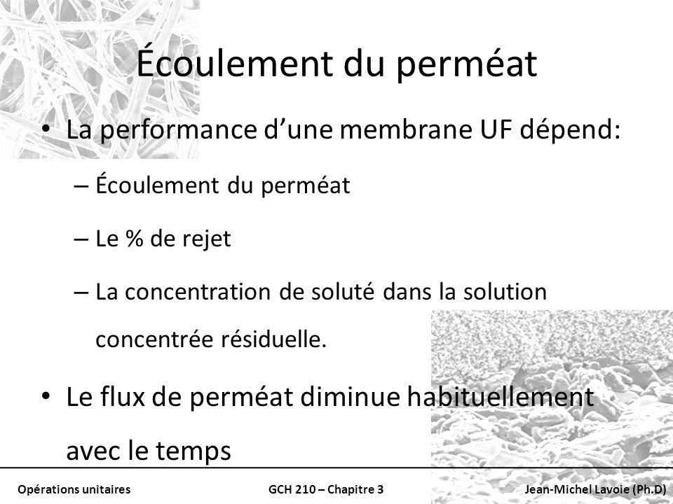 Opérations unitairesGCH 210 – Chapitre 3Jean-Michel Lavoie (Ph.D) Écoulement du perméat La performance dune membrane UF dépend: – Écoulement du perméa