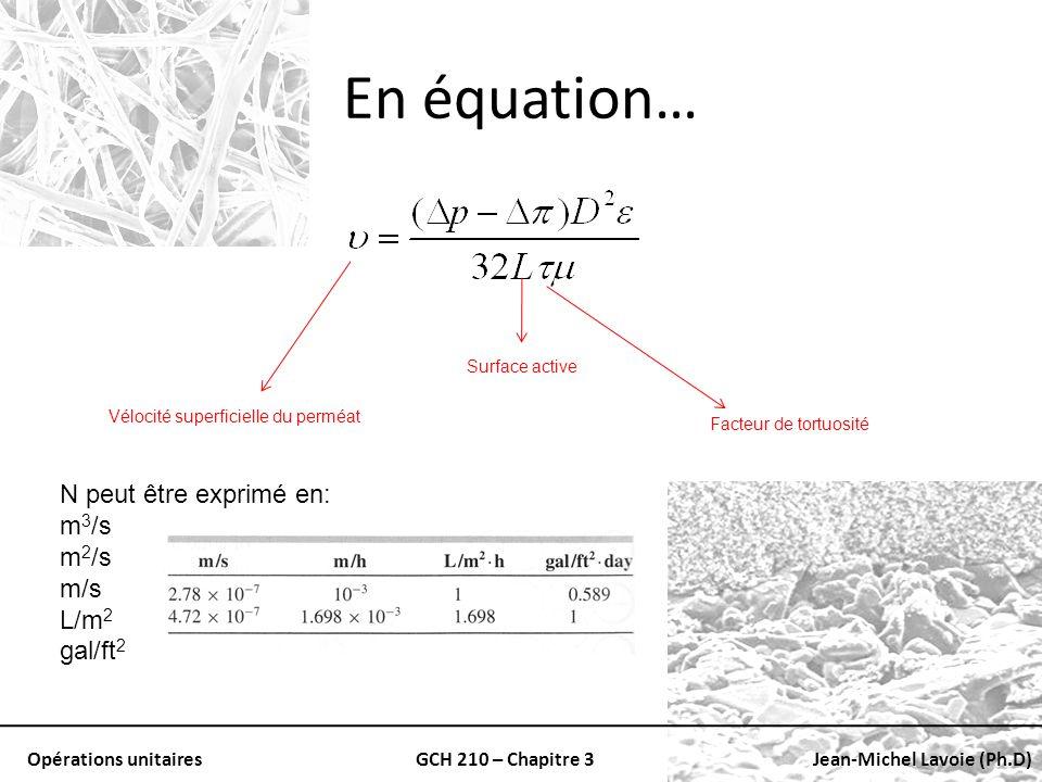Opérations unitairesGCH 210 – Chapitre 3Jean-Michel Lavoie (Ph.D) En équation… Vélocité superficielle du perméat Surface active Facteur de tortuosité