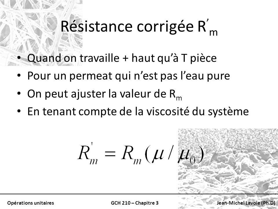 Opérations unitairesGCH 210 – Chapitre 3Jean-Michel Lavoie (Ph.D) Résistance corrigée R m Quand on travaille + haut quà T pièce Pour un permeat qui ne