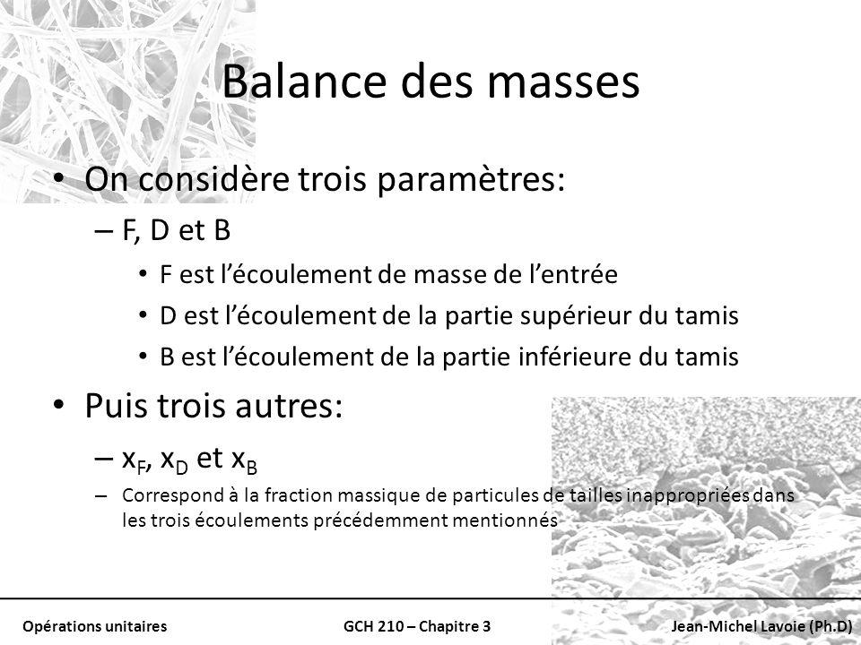 Opérations unitairesGCH 210 – Chapitre 3Jean-Michel Lavoie (Ph.D) Balance des masses On considère trois paramètres: – F, D et B F est lécoulement de m