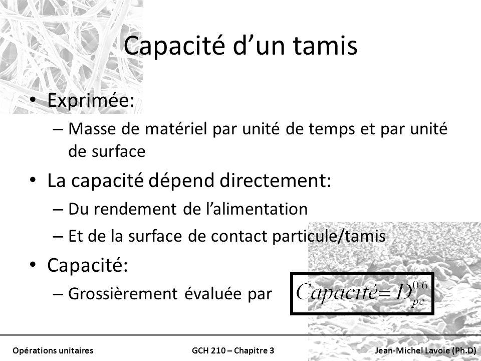 Opérations unitairesGCH 210 – Chapitre 3Jean-Michel Lavoie (Ph.D) Capacité dun tamis Exprimée: – Masse de matériel par unité de temps et par unité de