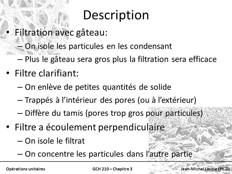 Opérations unitairesGCH 210 – Chapitre 3Jean-Michel Lavoie (Ph.D) Description Filtration avec gâteau: – On isole les particules en les condensant – Pl