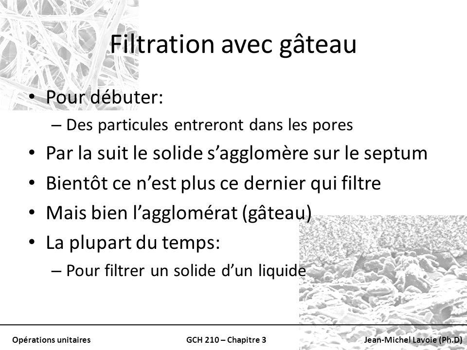 Opérations unitairesGCH 210 – Chapitre 3Jean-Michel Lavoie (Ph.D) Filtration avec gâteau Pour débuter: – Des particules entreront dans les pores Par l