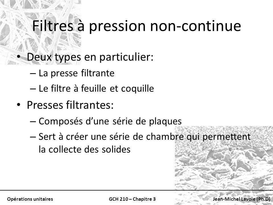 Opérations unitairesGCH 210 – Chapitre 3Jean-Michel Lavoie (Ph.D) Filtres à pression non-continue Deux types en particulier: – La presse filtrante – L