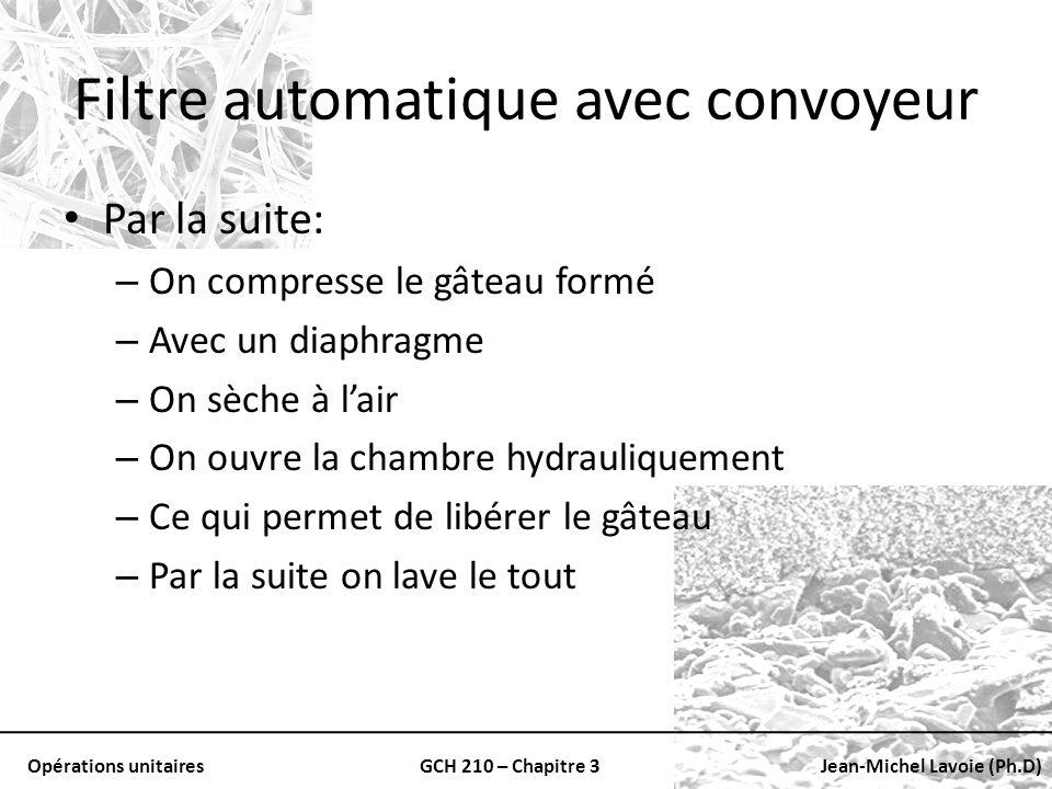 Opérations unitairesGCH 210 – Chapitre 3Jean-Michel Lavoie (Ph.D) Filtre automatique avec convoyeur Par la suite: – On compresse le gâteau formé – Ave