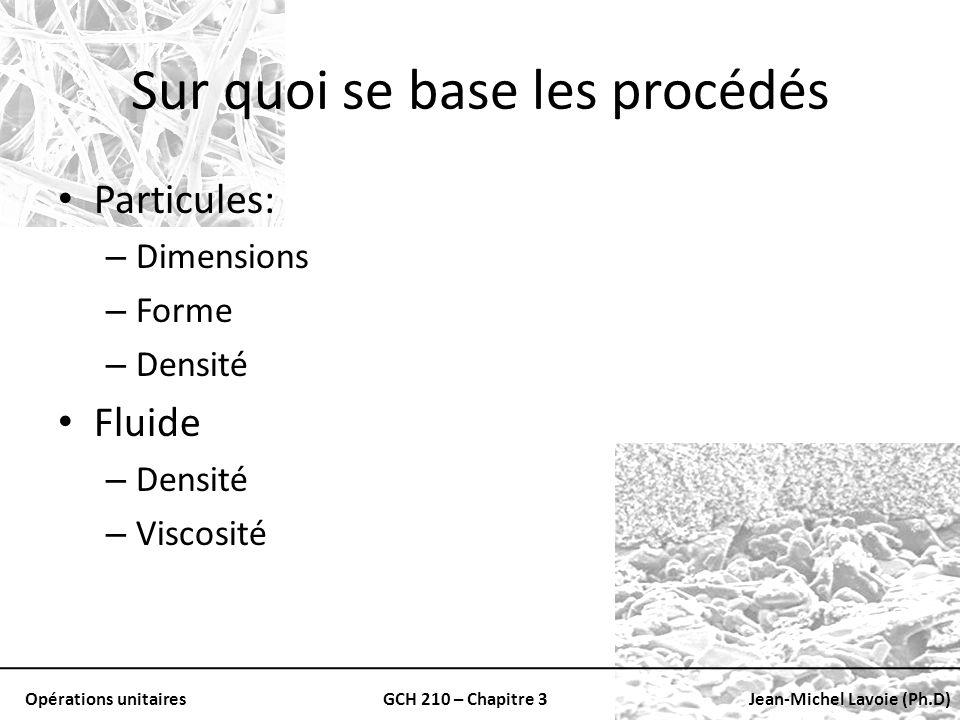 Opérations unitairesGCH 210 – Chapitre 3Jean-Michel Lavoie (Ph.D) Sur quoi se base les procédés Particules: – Dimensions – Forme – Densité Fluide – De