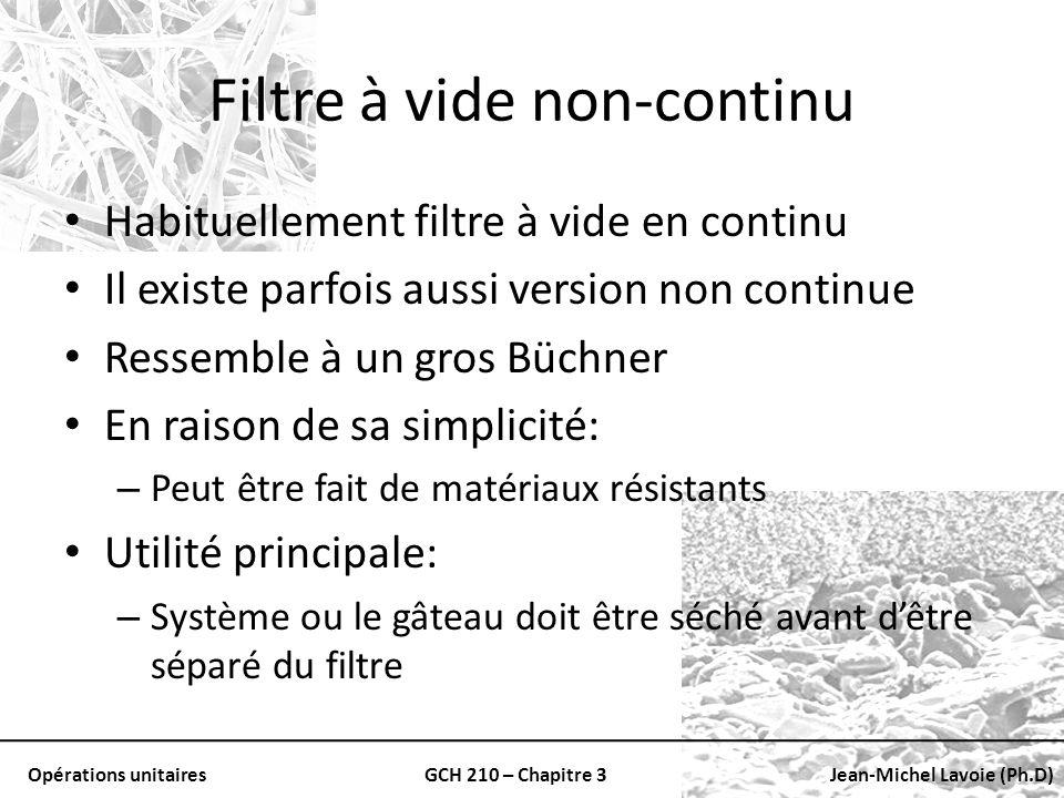 Opérations unitairesGCH 210 – Chapitre 3Jean-Michel Lavoie (Ph.D) Filtre à vide non-continu Habituellement filtre à vide en continu Il existe parfois