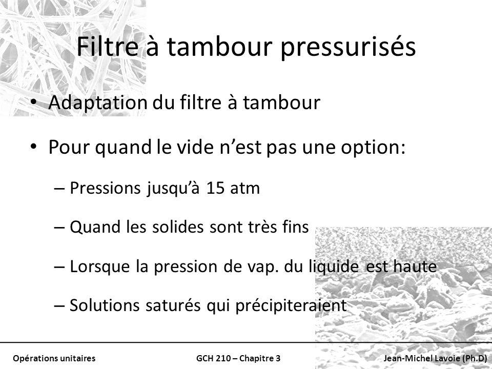 Opérations unitairesGCH 210 – Chapitre 3Jean-Michel Lavoie (Ph.D) Filtre à tambour pressurisés Adaptation du filtre à tambour Pour quand le vide nest